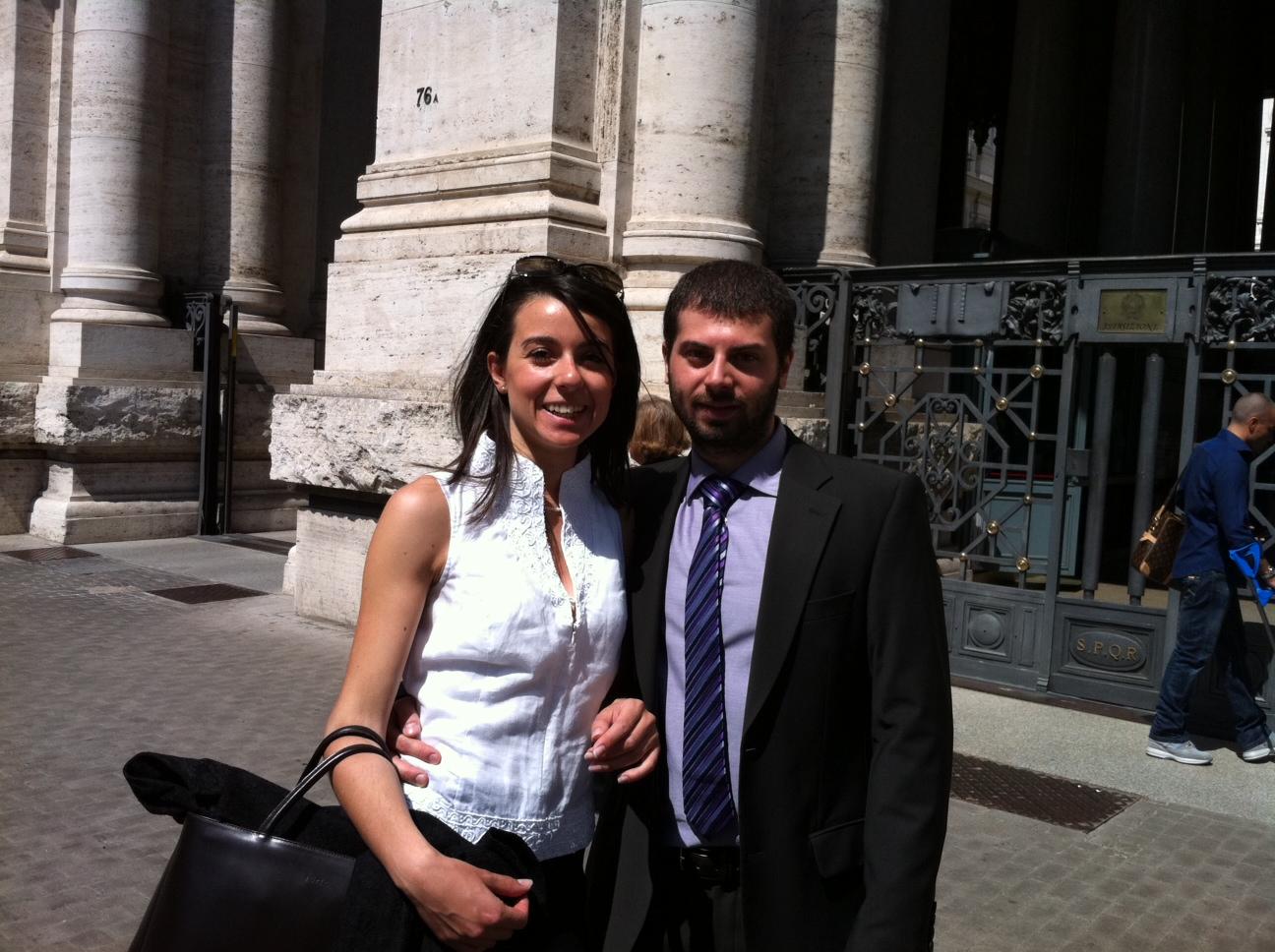 Debora Sarno e Luigi Galluccio, delegazione del gruppo di studenti di fronte al Miur